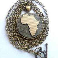 Africa Necklace, Africa Jewelry, African Pendant, Wanderlust, Africa Medallion, Gold Africa Pendant, South Africa, Hometown, Personalized