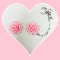 Pink rose plugs with ear cuff