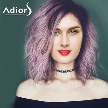Purple Ombre Medium Synthetic Shaggy Natural Wave Capless Wig