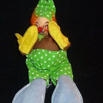 Annalee Clown In Green Polka Dot Outfit Figurine