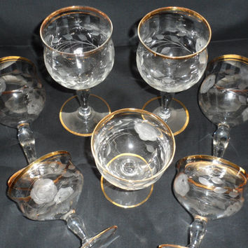 Gold Rimmed Needle Etched Rose n Leaf Stemware/Vintage Gold Rimmed Barware/Unique Needle Etched Gold Rimmed Crystal Stemware from 1940s