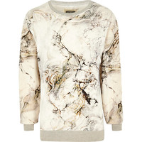 River Island MensWhite Holloway Road marble print sweatshirt