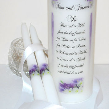 "WU40 WEDDING UNITY Candle - ' Now and Forever ' Wedding Vows transferred into a white 3"" x 9"" Unscented Pillar Candle with Matching Tapers"