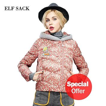 ELF SACK 2016 Winter Print Down Coats for Women Hooded Long Sleeve Thick Coats Female Fashion White Duck Down Coat Otherwear