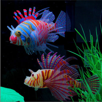 Glow In Dark Artificial Aquarium Pet Lionfish Ornament Fish Tank Jellyfish Decor