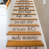 Family Wall Decal Quote Love Each Other Art Mural Stair Riser Vinyl Sticker Home Bedroom Stairs Decor Dorm Living Room Design Interior KY84