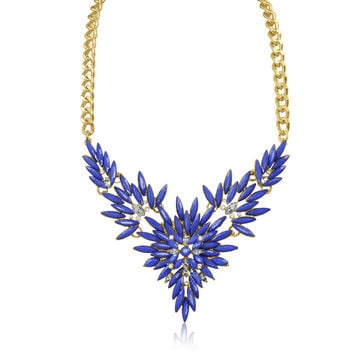 Passiana Blue and White Crystal Flower Bib Necklace | Overstock.com Shopping - The Best Deals on Fashion Necklaces