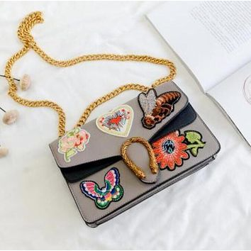 Popular Ladies Contrast Color Embroidery Vintage Small Square Bag Metal Chain Satchel Shoulder Bag Crossbody Grey