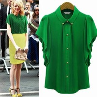 Vogue Turndown Collar Flouncing Sleeve Womens Chiffon Shirt Blouse Tops Buttons