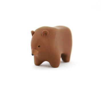 brown bear polymer clay bear totem miniature animal figurine