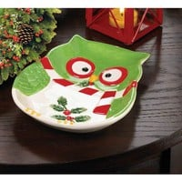 Charming Holiday Hoot Owl Platter Small Or Large