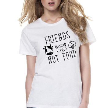 Plants Are Friends , Friends Not Food Vegan Harajuku Saying T-shirt Funny Printing T Shirts Casual Women Tops Tumblr Tee Shirt