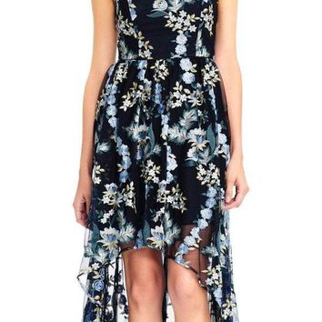 Adrianna Papell - AP1E202670 Floral Embroidered Scoop High Low Gown