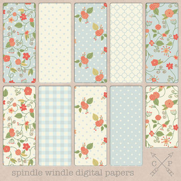 Shabby chic hand drawn flowers digital paper pack. handdrawn floral patterns and polakdots plaid quatrefoil for scrapbooking backgrounds etc