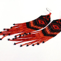 Native American Beaded Earrings Inspired. Black and Red Earrings. Fringe Very Long Earrings. Shoulder Dusters. Beadwork