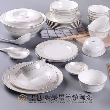 The black cloud net 22 Jingdezhen ceramic tableware bowl dish bowl European bone china porcelain relief suit