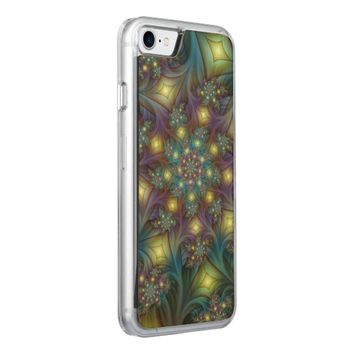 Illuminated, luminous modern Fractal Art Pattern Carved iPhone 7 Case