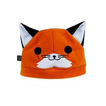 Pawstar Happy Fox Hat with Foxy Ears Fleece Embroidered Animal Face Beanie