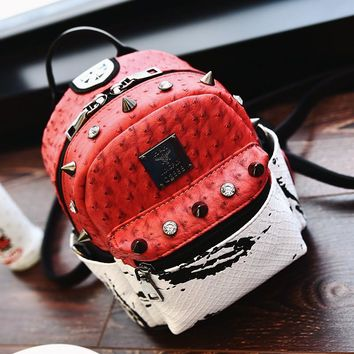 School Fashion Bag Preppy Backpack Ostrich PU Leather Girls Cute Bag Panelled Shoulder Bags Diamonds Casual Rivet Backpacks 2016