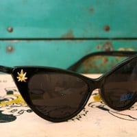 Pot Leaf Embellished Cat Eye Sunglasses by PenelopeMeatloaf