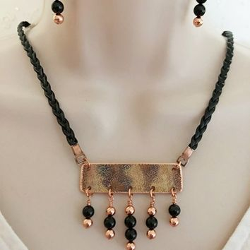 Copper and Black Dangle Necklace and Earring set, Bar Necklace Set, Beaded Necklace Set, Hammered Necklace Set, Geometric Necklace Set