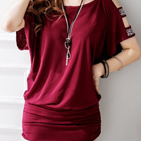 Wine Red Cut Out Dress with Rhinestone