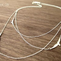$71.00 Three Layered Flying Birds Necklace in Silver by shlomitofir