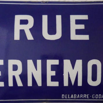 "FRENCH ANTIQUE / VINTAGE 1920's Enameled Metal French Street Sign "" Rue D'Ernemont "" , Industrial / Atelier Decor , Old Curve Shape , Heavy"