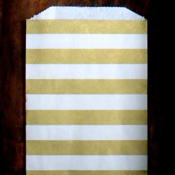 "25 Paper Bags with Metallic Gold Horizontal Stripe, Party Favor Bag, Gift Wrapping, 5 x 7.5"", Wedding Favor Bag, Christmas Gift Bag"