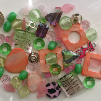 Mixed Beads 65 Pcs Pink Green Glass Cat Charms Shell Murano Style 28mm 20mm 12mm