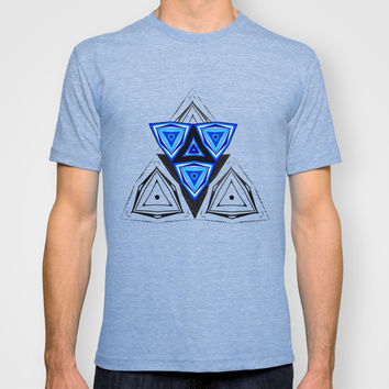 Abstract Triangle Blue Pattern T-shirt by Cinema4design