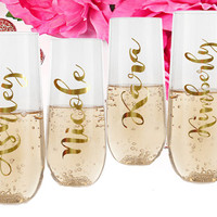 Stemless flutes, Toasting Glasses, Bridesmaid Glasses, Personalized Wedding, Gift for Bridesmaid, Bachelorette Party, Wedding Favor