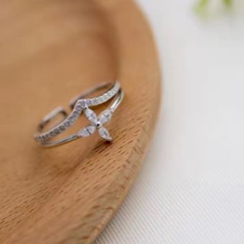 Double flower ring personality V open ring J2925 -0413