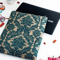 Teal damask MacBook Air 13 sleeve, MacBook Pro 13 case, MacBook Air 13 Cover, MacBook Pro Retina 13 case, MacBook Air 11 case