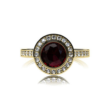 Garnet halo engagement ring, diamond ring, yellow gold ring, bezel engagement, halo, red gemstone, diamond ring, vintage style, white gold