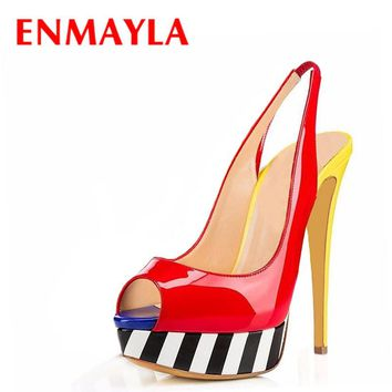 ENMAYLA Mixed Colors Platform Pumps Women High Heels Peep Toe Shoes Woman Slingback Sandals Women