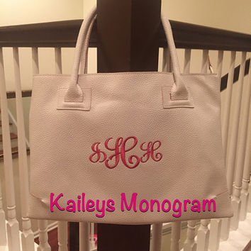 Monogrammed Handbag WHITE Charleston Bag Personalized Tote Bride Wedding Bridesmaid Preppy Kaileys Monogram