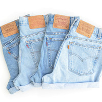 LEVIS high waisted shorts / random stonewash denim / cuffed hem / select your size
