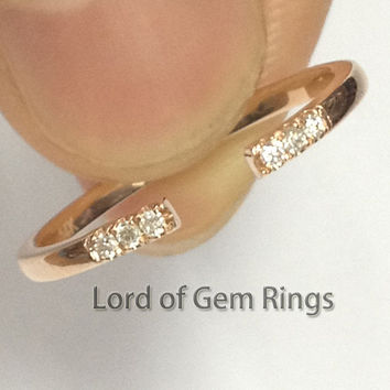 Unique Pave Diamonds Real 14K Rose Gold Matching Anniversary Wedding Band Ring