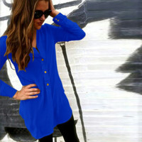 Plain Long Sleeve Button-Up Dress Shirt