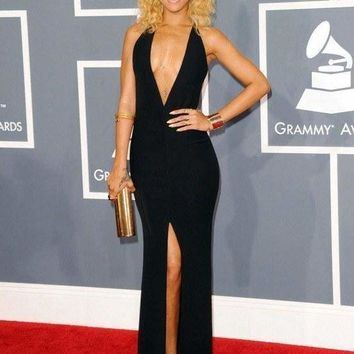 Rihanna Black Deep-V-Neck Open Back Gown