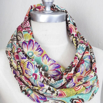 Bohemian Spring Scarf Bright Bold Colorful Floral Print in Brown, Cream, Purple, Mint, Teal, Ochre, and Pink