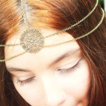 Chain Headpiece Headband Hair Piece Gypsy Bohemian Hipster Boho Bronze Floral Circle Centerpiece Double Drape Bridal  Jewelry