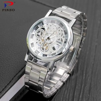 2017 New Brand Luxury Fashion Casual Stainless Steel Men Skeleton Watch Women Dress Wristwatch Hollow Quartz Watches Men colck