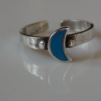 Blue Crescent Moon 925 Sterling Silver Toe Ring Adjustable Band Expandable Stamped Unisex Sexy Jewelry Beach Wear
