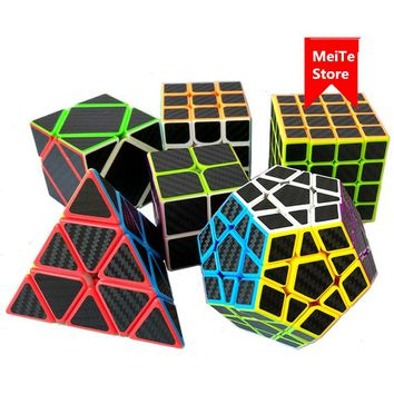 6 PCS/Set Carbon Fiber Sticker Magic Speed Cube Magico Brain Tester Educational Toys Pyraminx Skew Megaminx 3x3x3 Puzzle Cube