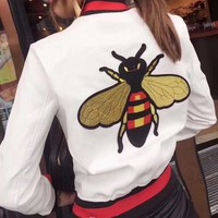 DCCKHI2 GUCCI Bee Embroidery Leather Long Sleeve Cardigan Jacket Coat Tagre-