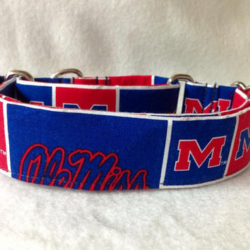 "University of Mississippi ""Ole Miss"" Martingale or Quick Release Collar 1.5"" Martingale Collar or 2"" Martingale Collar"