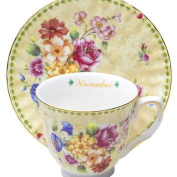 November Porcelain Teacup and Saucer in Satin Lined Gift Box