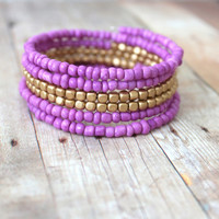 I R I S - Light Plum Purple and Matte Gold, Glass Seed Bead, Silver Plated Memory Wire Wrap Bangle Bracelet